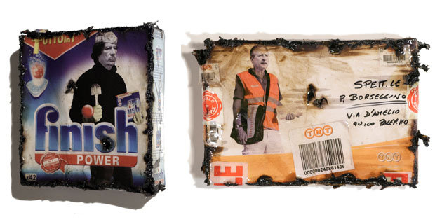 """Finish Power Gheddafi"", resin and tar on finish's box, cm 29x28x29,5 
