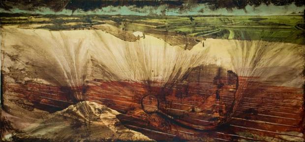 """What Lies Beneath"", 2007, acrilico e olio su tela, cm 500x250, foto- kromus"
