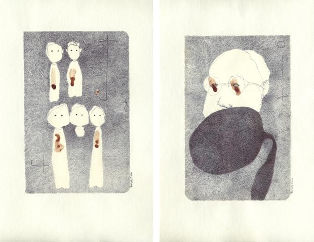 """Sonia"", 2011, sangue e penna a bic su carta, cm 13,5x21 | ""davide"", 2011, sangue e penna a bic su carta, cm 13,5x21"