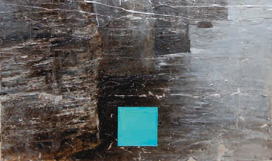 """ECUMENE KONIS"", 2011, tecnica mista con petrolio e cenere su carta intelata, cm 100x160"