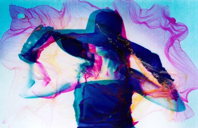 """Carlo Chechi, """"Unexpected Lady 2"""", 2011, manipolazione in acqua di polaroid zink, cm 80x120"""