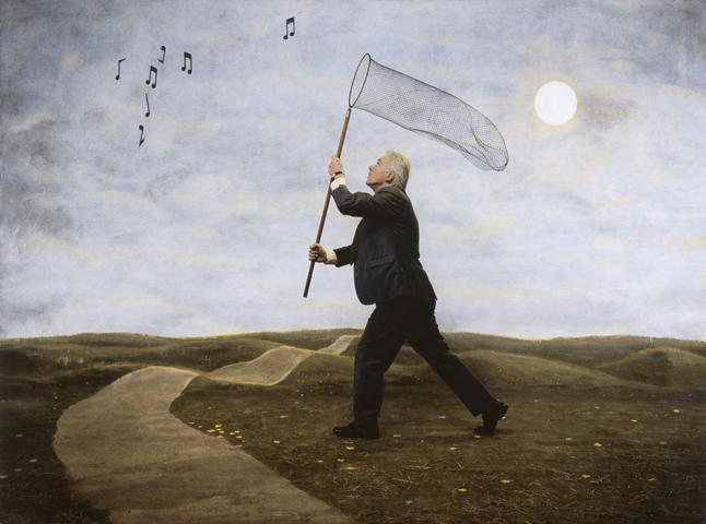 "Teun Hocks, ""Untitled 225"", 2008, oil on toned gelatin silver print"