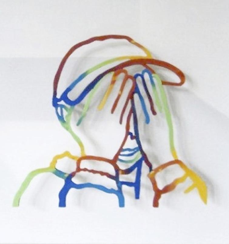 Fernando Zucchi, Il mondo degli uomini (particolare), tecnica mista su supporto ligneo, teca, cm. 35x45x6, 2011