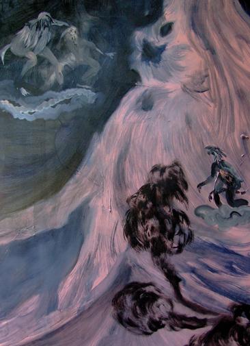 Gli uomini uccello a cavallo di interiora incontrano il fumo che parla, Tecnica mista su tela, cm 70x100,2011