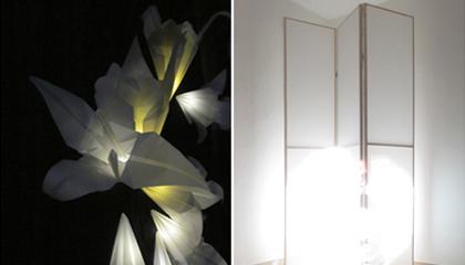 """Federica Gonnelli, """"Effimeri Parati"""", 2011,installazione assemblaggio di tessuto, legno carta lucida e luci led, cm 250X200X200"""