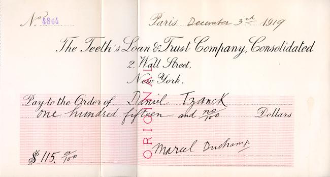 """Marcel Duchamp ,""""Tzanck Check (dettaglio di Boîte-en-valise)"""", 1919/1938. Facsimile stampato, litografia in offset a due colori con numeri stampati a mano, 21x38,2 cm. Courtesy Francis M. Naumann Fine Art, New York, © Succession Marcel Duchamp, 2011, ADAGP, Paris/ARS, New York"""