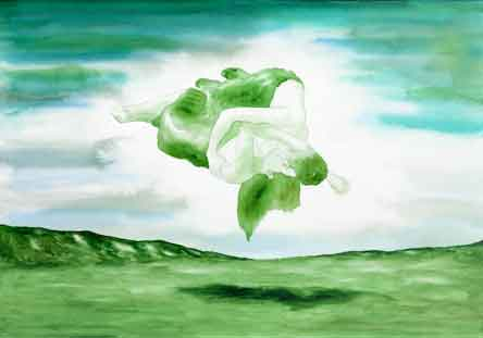 """""""Paesaggio con due figure sospese"""", 2011, 70x100 cm, acrilico e acquarello su tela"""