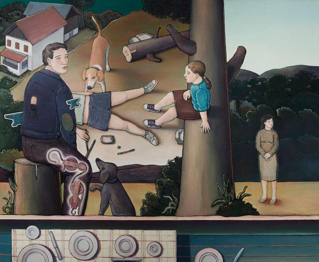 """Max Rohr, """"Someone is always waiting"""", 2010, olio su tela, cm 180x220"""