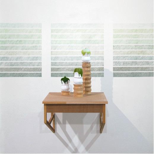 """Sans titre (still life-landscape)"", 2011 Porcellana, legno, pastelli Dimensioni variabili"
