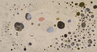 """""""Firmament IV"""", 2007-2010, olio e matita su lino, cm 300x550"""