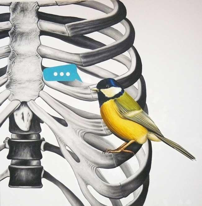 """Andrea Buglisi, """"Darwin Reloaded, Bird"""", 2010, olio su tela, cm 200x200"""