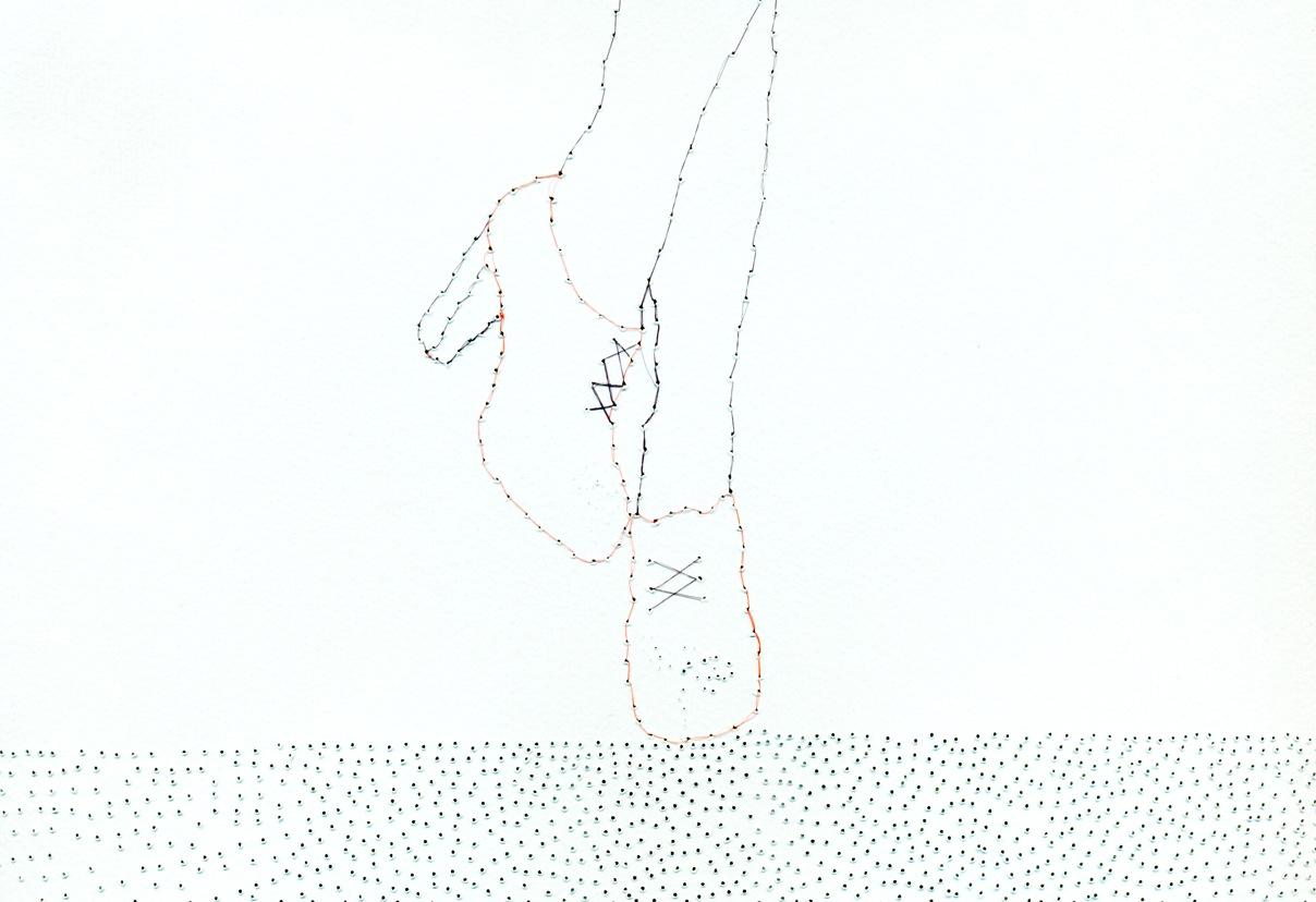 Antonio PIga, Senza titolo, 2012, carta forata, capelli naturali, cm 46x30