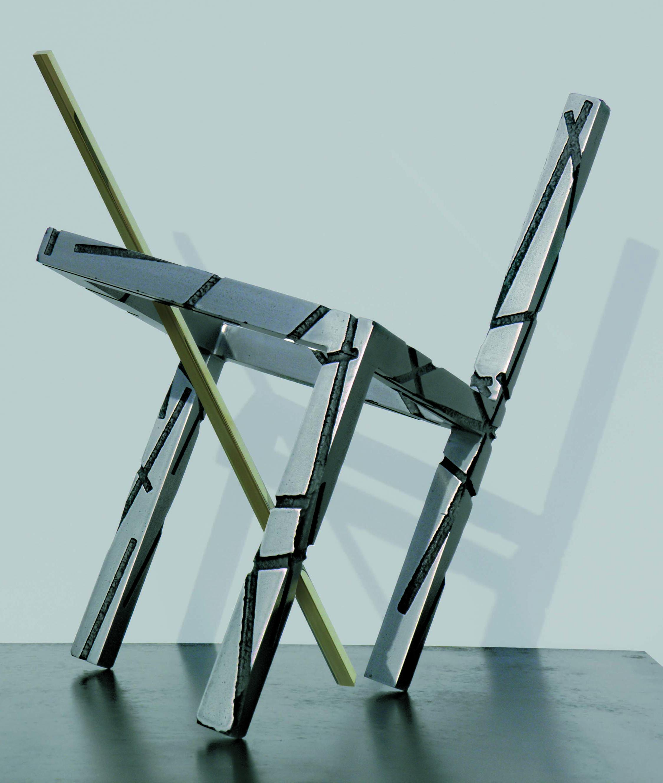 """""""STRUTTURA E LUCE V"""", 2010  ferro acidato a morsura, ottone, 36x27x33 cm"""