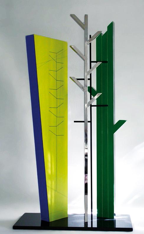 Fitogenesi, 2009, Acciaio policromo e granito, cm 110x60x200