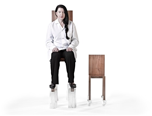 "Marina Abramović ""The Abramovic Method"":  Chair for Man and His Spirit Materials: Wood, Selenite. 2012 © Marina Abramović  by SIAE 2012, courtesy Marina Abramović"