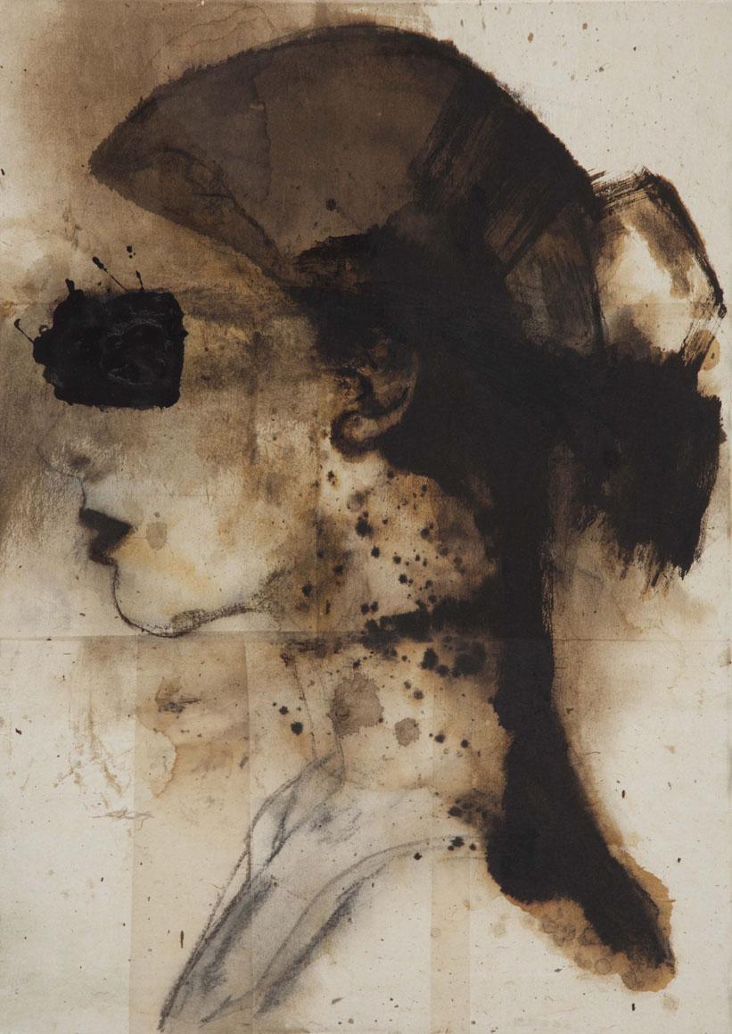 """Ninfa"", 2011, bitume e carboncino su carta intelata, cm 70x50"