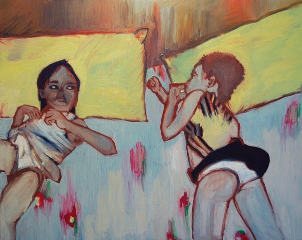 La giovane artista dorme mentre un'amica la fissa, oil on canvas, 80x100 cm
