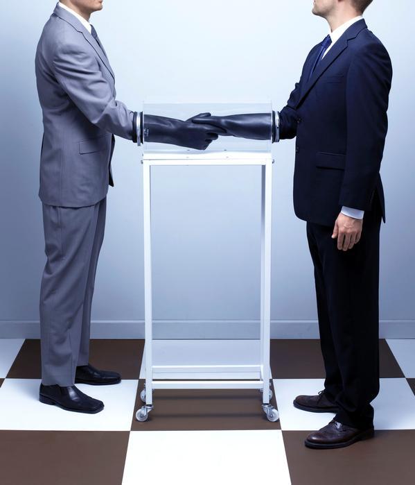 Dominic Wilcox, Pre-Handshake Handshake Device, 2010