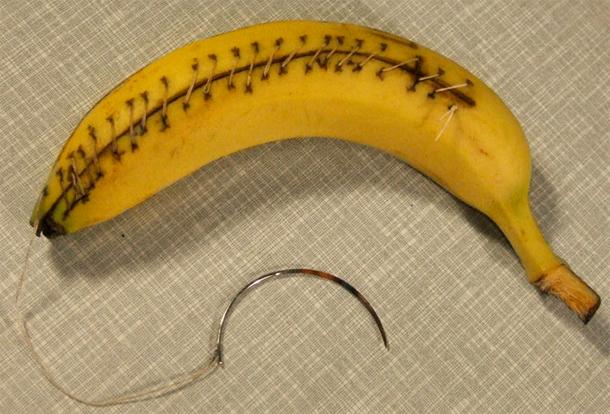 Daniele Pario Perra, banana usata dagli studenti per la pratica dei punti di sutura grazie alla sua somiglianza con la pelle umana, Low Cost Design fuorisalone 2012