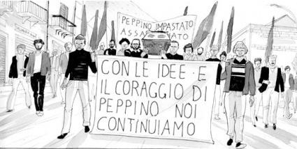 """Lelio Bonaccorso, """"Peppino Impastato, un giullare contro la Mafia"""", tavola 1"""