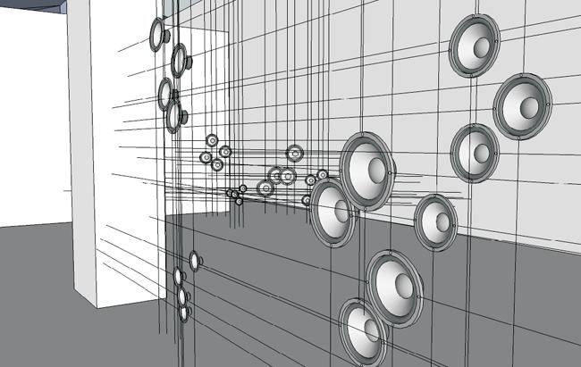 Aritmetiche Architetture Sonore - 2012 (rendering) cavi di acciaio, speakers, sistema di riproduzione audio, dimensioni ambientali