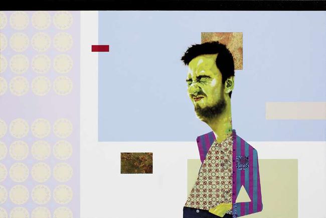 """CARLO ALBERTO RASTELLI, """"Toilets are nice places to live in"""", 2012, olio, acrilico, foglia oro e rame su tela, cm 100×150"""