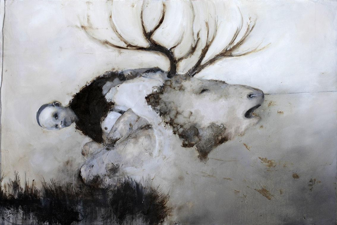 Sergio Padovani, DENTRO SCONFINATI DIES IRAE, 2012, 120x80 cm, Olio, acrilico e bitume liquido su tela, courtesy Sergio Padovani