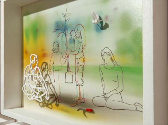 """Fernando Zucchi, """"Il mondo degli uomini"""", 2011, tecnica mista su supporto ligneo, cm 35x45. Courtesy Romberg/Latina"""