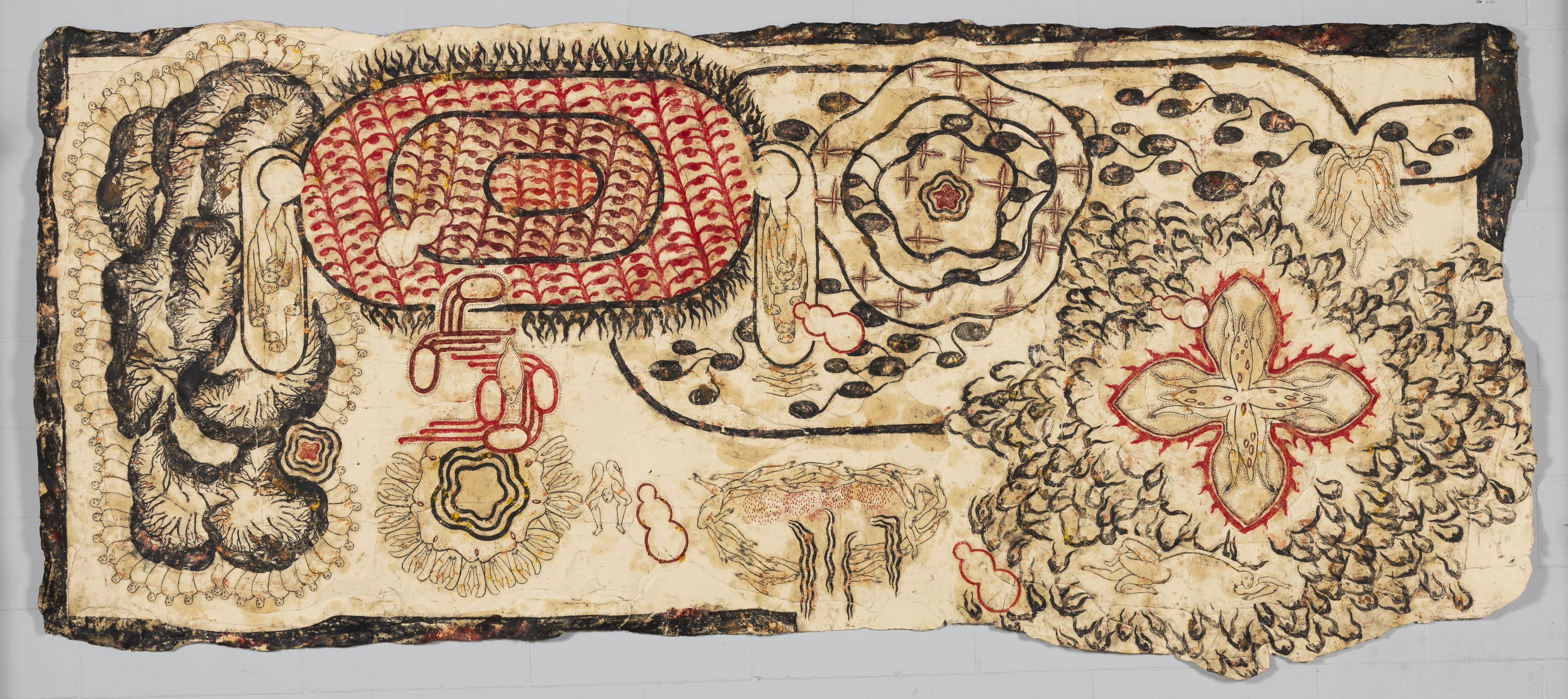 "Simone Pellegrini, ""Devasti"", 2012, 146x335 cm, tecnica mista su carta da spolvero"