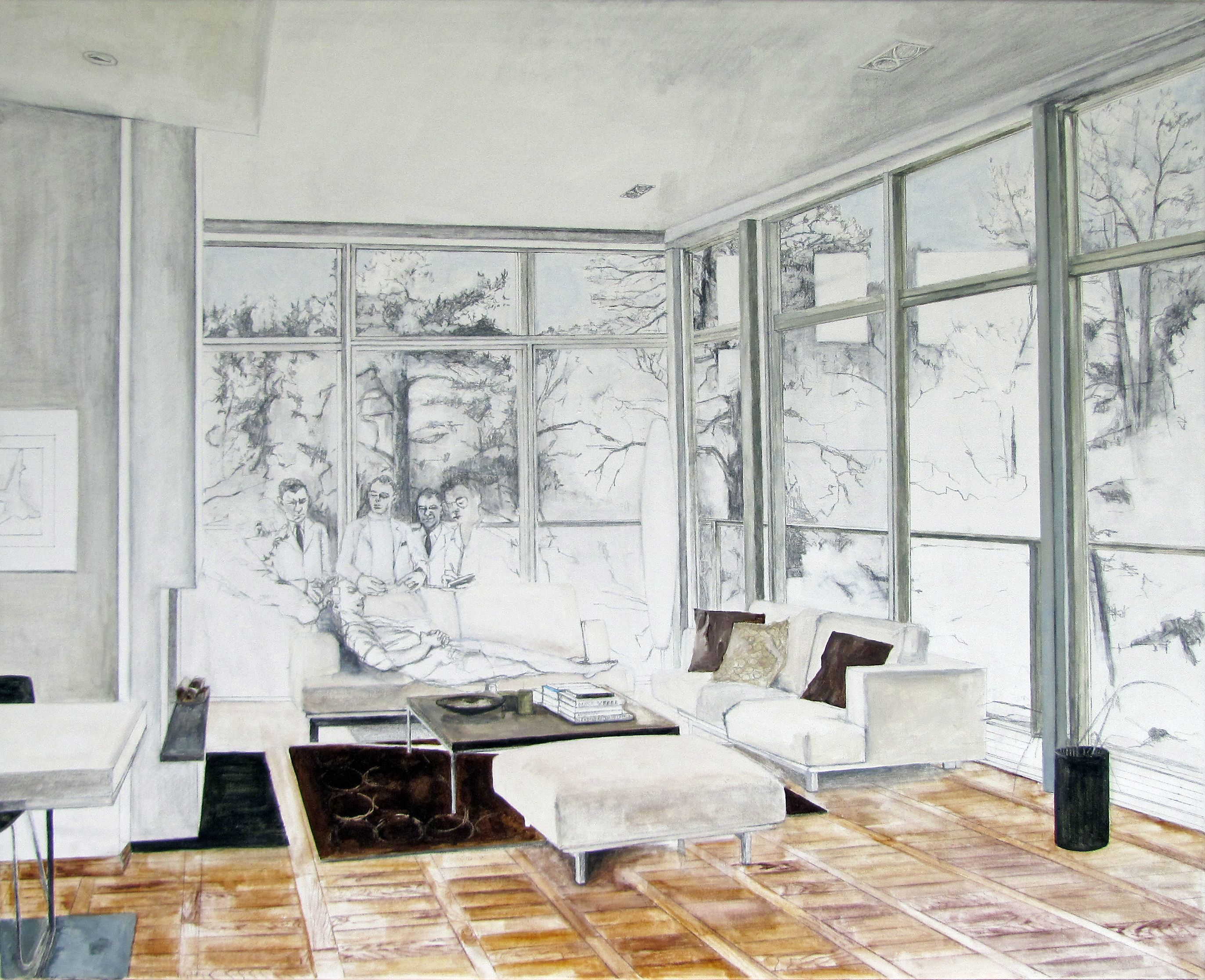 "Aleksandra Jarosz Laszlo, ""Home treatment. It took him almost ten years to find a perfect spot"", acrylic and wash on canvas, cm 100x81"