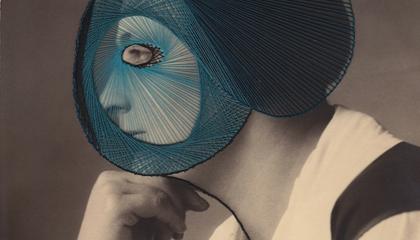 Maurizio Anzeri, Profiles Blue, 2012, ricamo su fotografia, cm 23,5x18