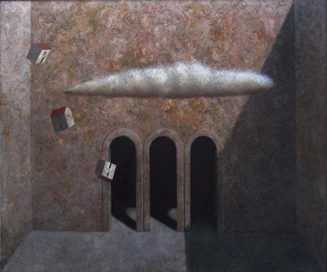 Cortile, 2010, olio e tempera su tela, cm 110x140