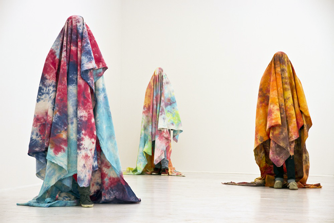 Brendan Lynch, Untitled, 2011, manikins, mixed media and tye-die canvas, installation view at Thomas Brambilla