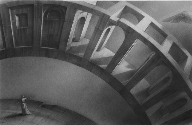 """ALBERTO ANDREIS, """"Architetture Armoniche. L'Annunciazione"""", 2011, carboncino e china su carta, cm 57x88"""