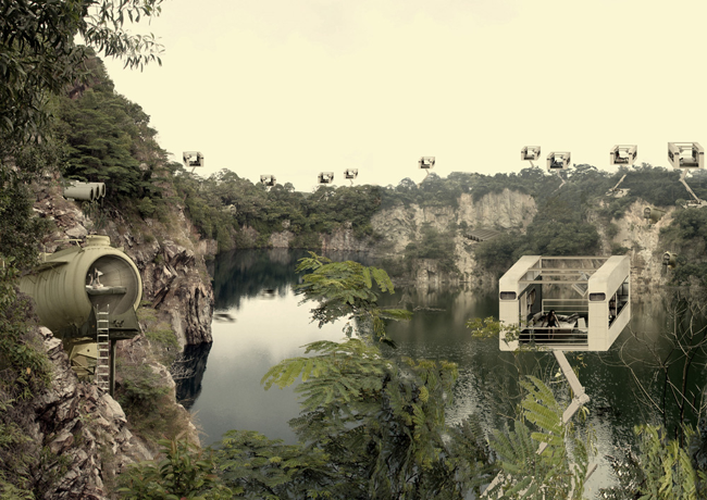 "Aristide Antonas, ""landscape with crane rooms and keg apartments, Ubin Quarry in Singapore, 2011. Courtesy l'artista"