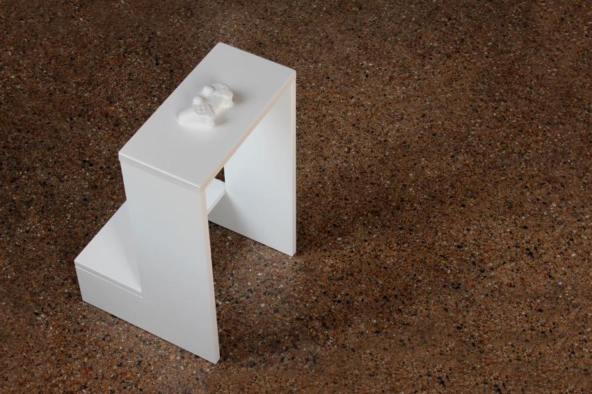 """Gino Sabatini Odoardi, (Part.), """"Senza titolo in wireless"""", 2012, Termoformatura in polistirene, legno, smalto, olibano - cm 50 x 50 x 85 Courtesy: galleria Oredaria, Roma"""