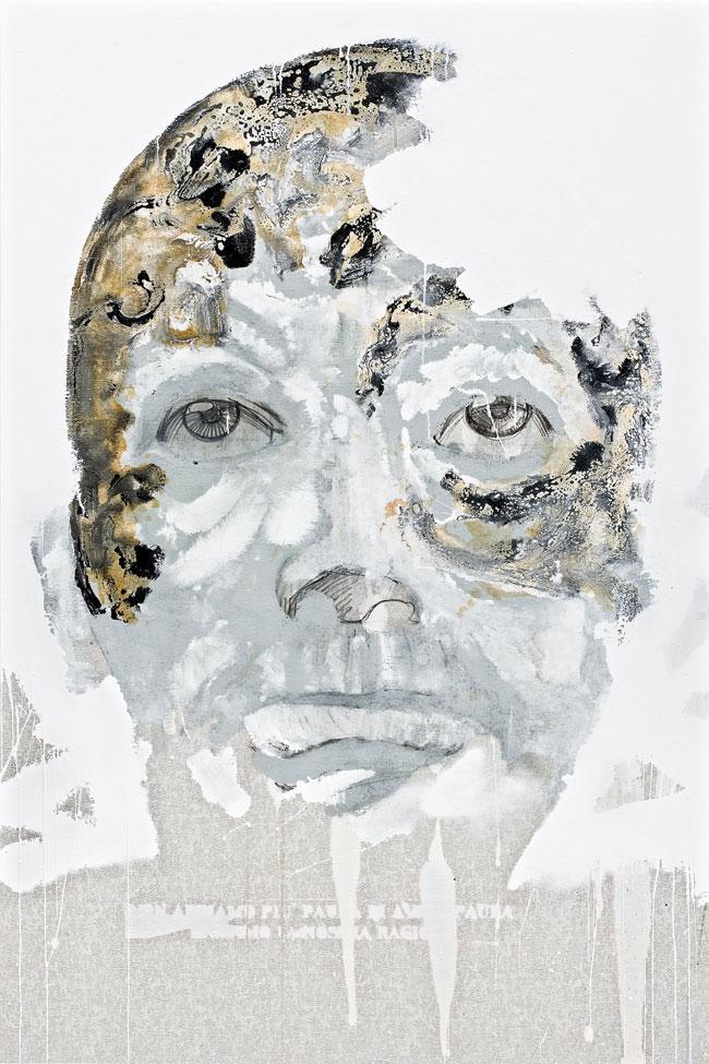 Non abbiamo più paura di avere paura urliamo la nostra ragione, 2012, smalto su tessuto, cm 180x120. Courtesy dell'artista
