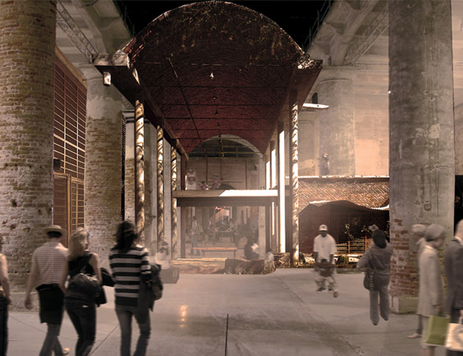 Anupama Kundoo installation (photomontage). Photographer Credit, Photomontage: Katie Hawgood Courtesy & Copyright: Anupama Kundoo  This is a 1:1 scale house built in the Arsenale by Indian and Venetian craftsmen using experimental and vernacular technologies