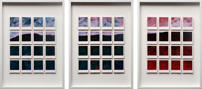 Patrizia Novello, In the Manner of Old Masters, 2010, acrilico su cartone vegetale, 3 elementi da 70x50 cm