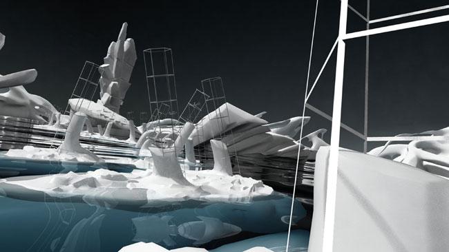 Rompere le acque, 2012, animazione 3D, stampa digitale su cotone, 125 x 70 cm
