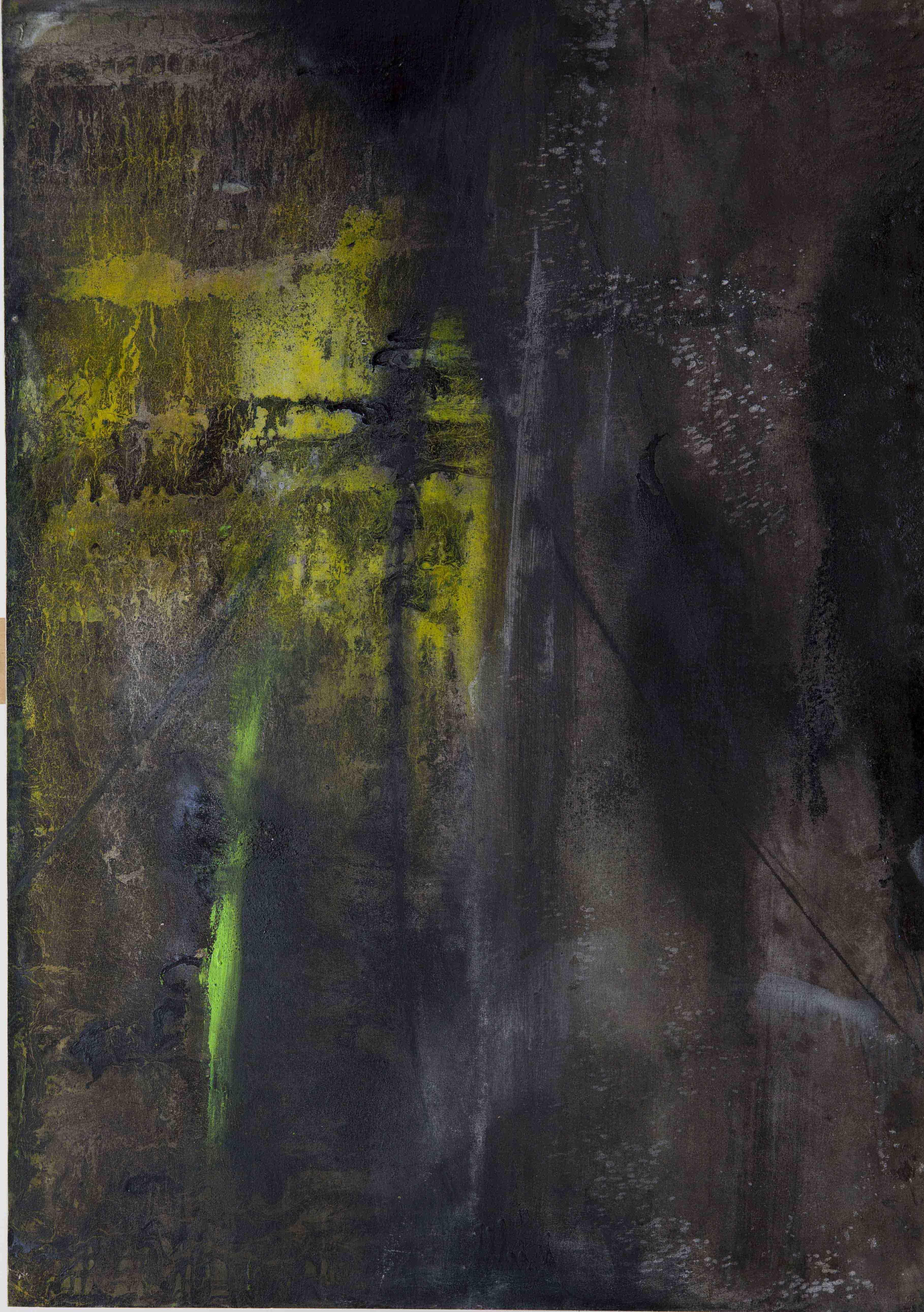 Paolo Bini, Notturno, 2012, acrilico, mica e terra su carta applicata su tavola, 100x70cm cm