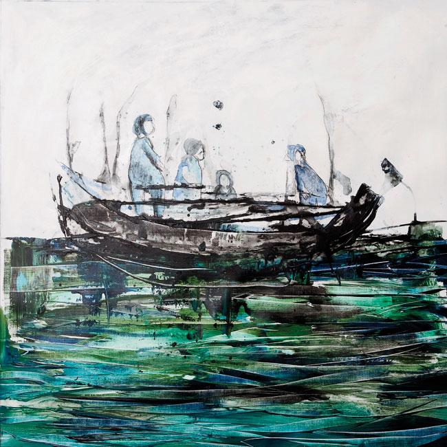 El recuerdo de la Sombra, 2012, tecnica mista su tela, cm 100x100