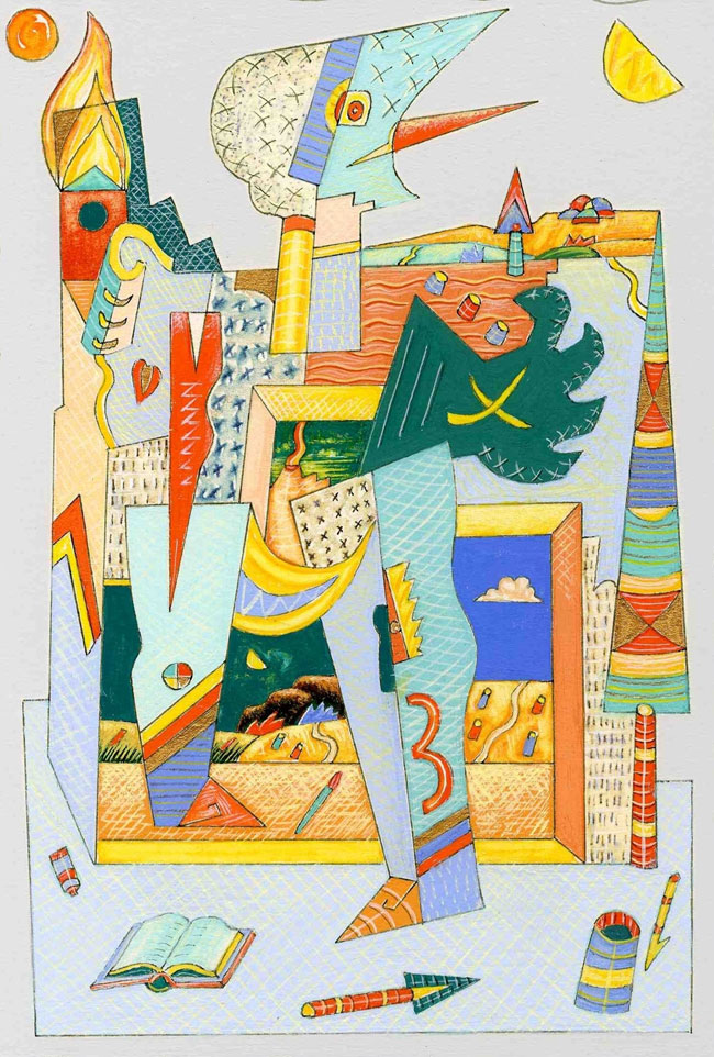 """Pino Chimenti,""""Paesaggi con figure tra ipertelie freudiane"""", 2008. Tempera e acrilico su cartone, 18 x 24 cm"""