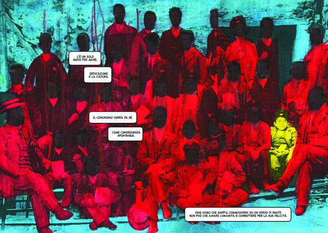 """Gianluca Costantini, """"Cena con Gramsci"""", tavola tratta dall'omonimo volume edito da BeccoGiallo. Courtesy: Galleria Miomao"""