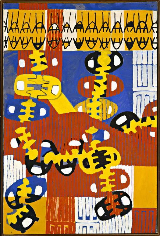 Giuseppe Capogrossi Sole di mezzanotte, 1952 Olio e tempera su tela 98,5 x 66 cm Collezione Maramotti, Reggio Emilia