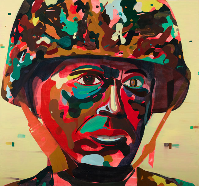 Psychedelic Soldier, 2012 oil and acrylic on panel/olio e acrilico su tavola, 90 x 96 inches/ 228.6 x 243.8 cm. Photos: Joseph Desler Costa Courtesy the artist, Salon 94 and Galerie Thaddaeus Ropac