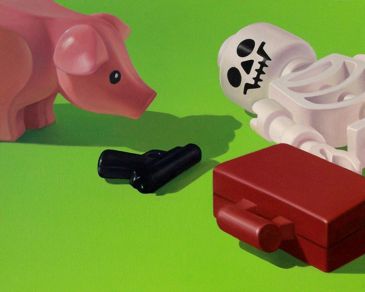 Stefano Bolcato, Pigs Story, olio su tela, cm 50x60
