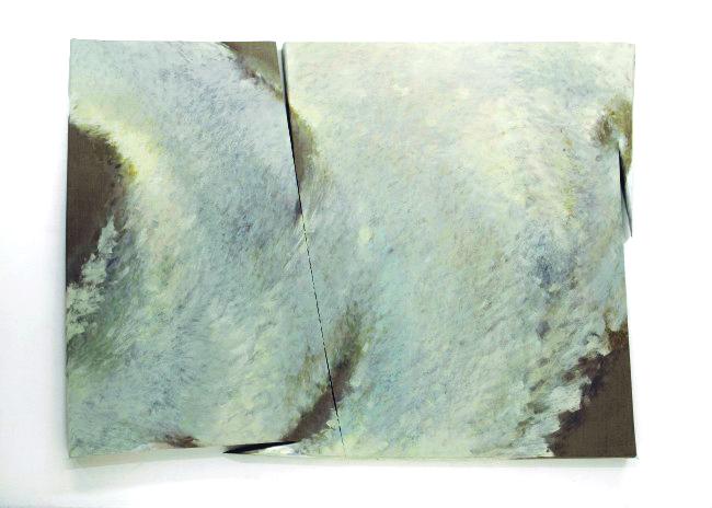 Tetsuro Shimizu, Mujo T-7, 2012, olio su tela sagomata, 200×275 cm