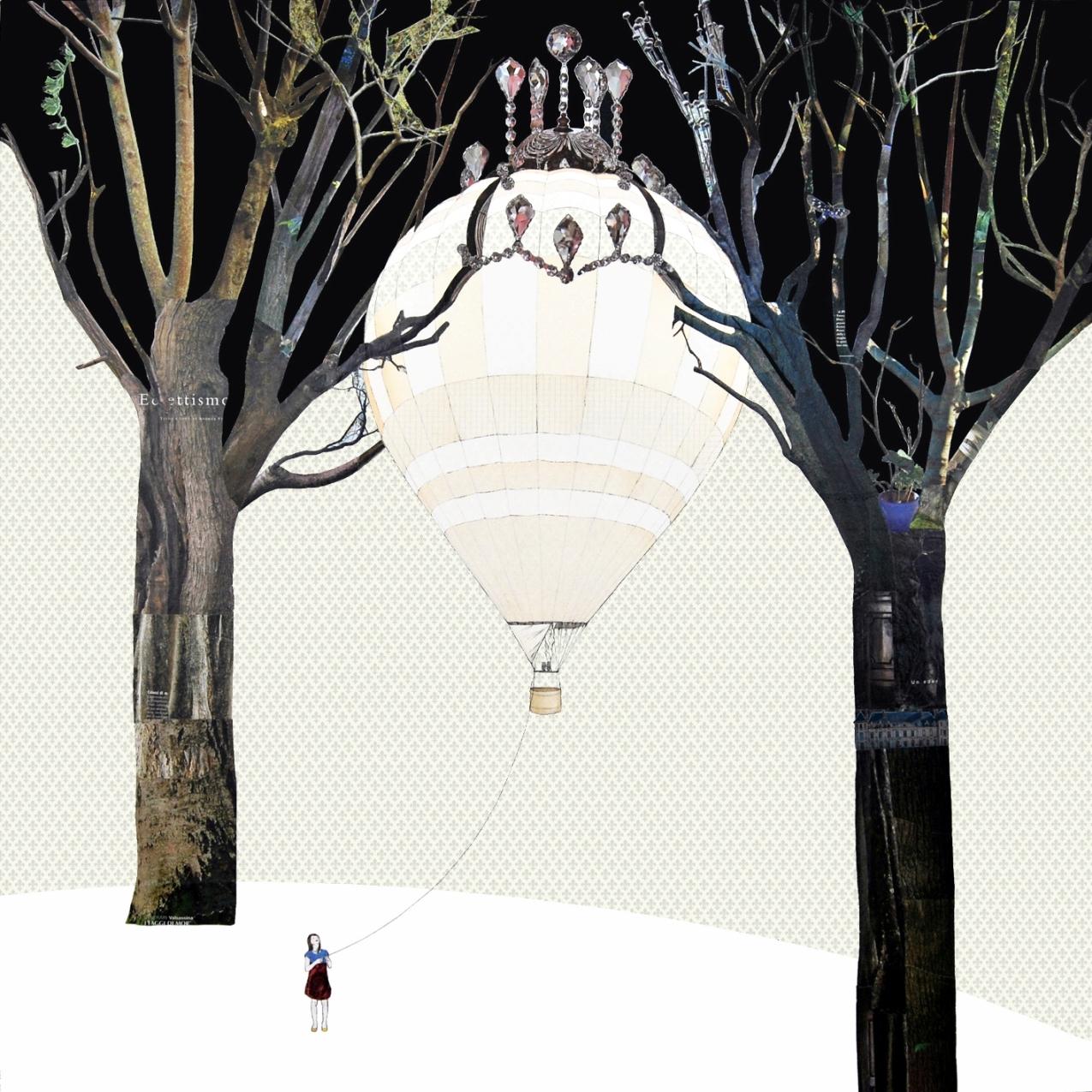 Alice Colombo, Mongolfiera, 2012, tecnica mista e collage su tela, 100x100cm