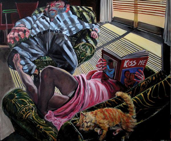 Enrico Robusti, Kiss Me, 2012, olio su tela, cm 100x120